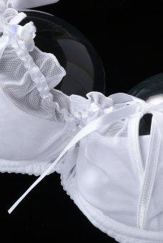 画像9: 解けるリボンのカバー付きオープンバストブラジャー(シェルフブラ・純白ホワイト) [V-6461]【送料無料】輸入下着・高級ランジェリー (9)