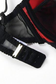 画像10: スリット入りカバー付きオープンバストブラジャー(シェルフブラ・黒×赤) [V-7791]【送料無料】輸入下着・高級ランジェリー (10)