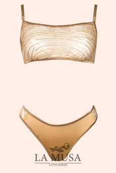 画像7: ブラレット&ショーツセット(ノンパテッドブラ・替えストラップ付・ゴールド・ラメ・スパンコール・シルク混サテン)[Gold Sparkle Set]【送料無料】輸入下着・ 高級ランジェリー (7)