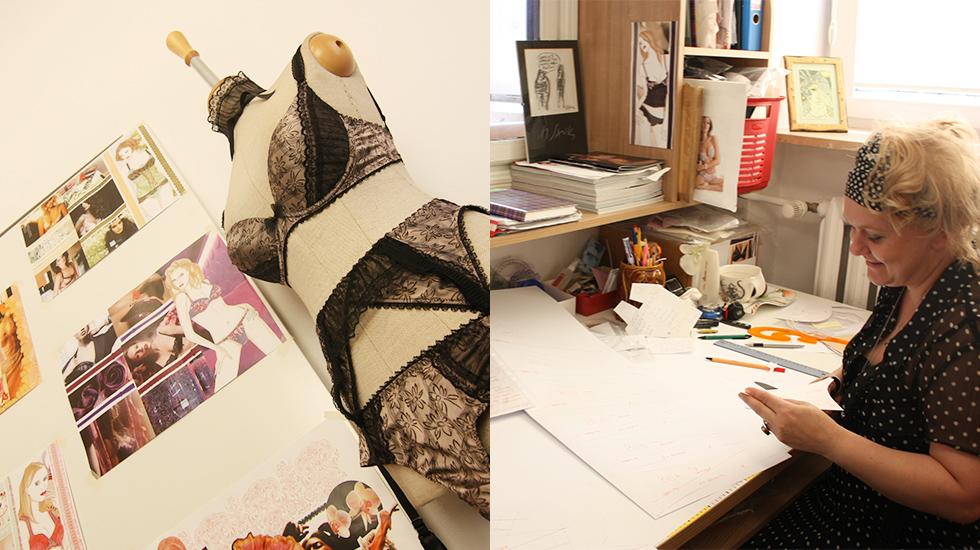 クリエイティブなウシュラのアトリエにはデザイン案が並べられている