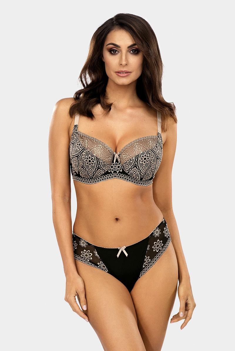 Ewa bien エヴァビアン セミソフトブラ AVERO black-beige モデル画像