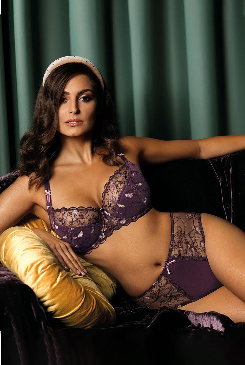 Ewa bien エヴァビアン 一枚レースブラ PROMES violet B139 モデル画像
