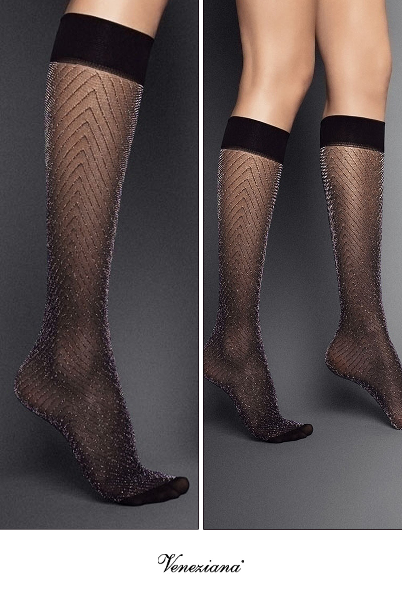 ベネチアナ JACKIE LUREX High-Socks nero