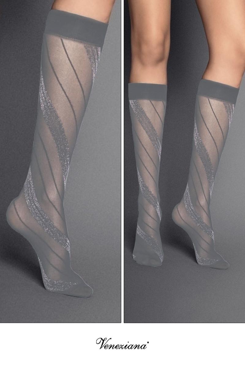ベネチアナ SPIGA LUREX High-Socks grigio-silver