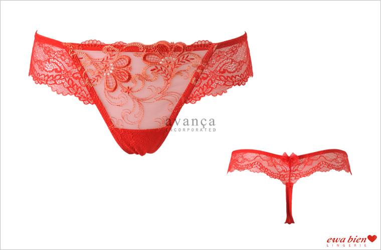 赤い刺繍レースが素肌に映えるタンガ(Tバック)。幸せを呼ぶと言われる赤いランジェリーです。