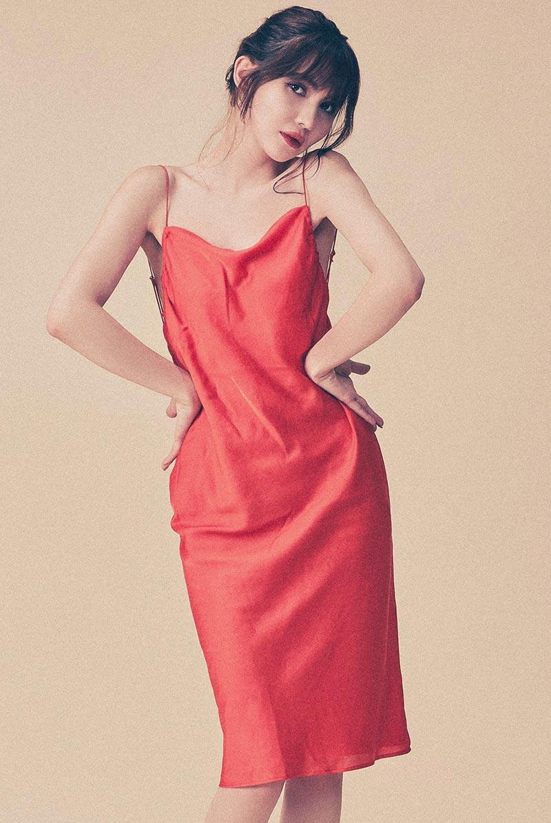 画像1: ドレス(カップ付き・オレンジ・バックオープン) [Garden Dress Arancia Rosso]【送料無料】   日本製・高級ランジェリー (1)