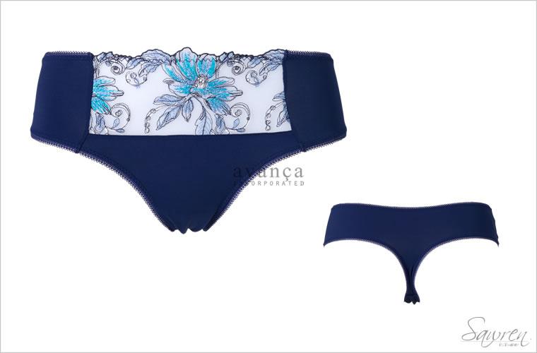 ブルーのグラデーション刺繍が美しいタンガ(Tバック)です。